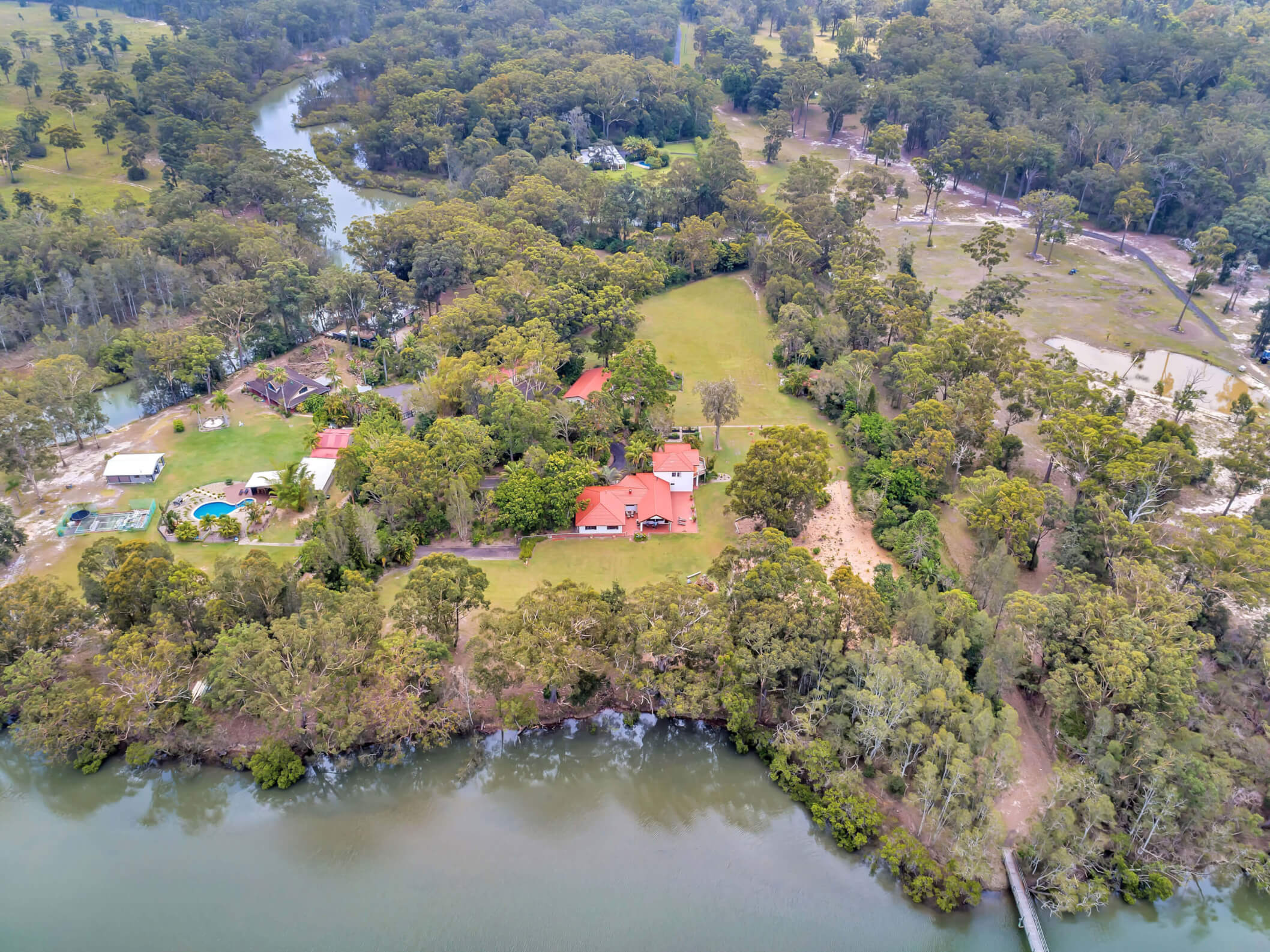 Property Aerial with Bridge